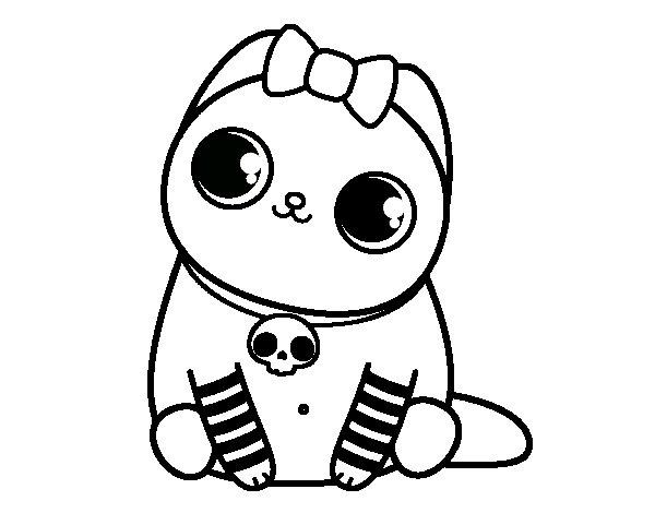 Desenho de Gatito emo para Colorir
