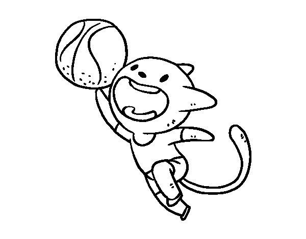 Desenho de Gato basquete para Colorir