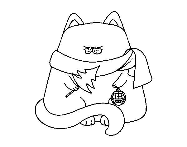 Desenho de Gato com as decorações de Natal para Colorir