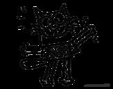 Desenho de Gato com camiseta para colorear
