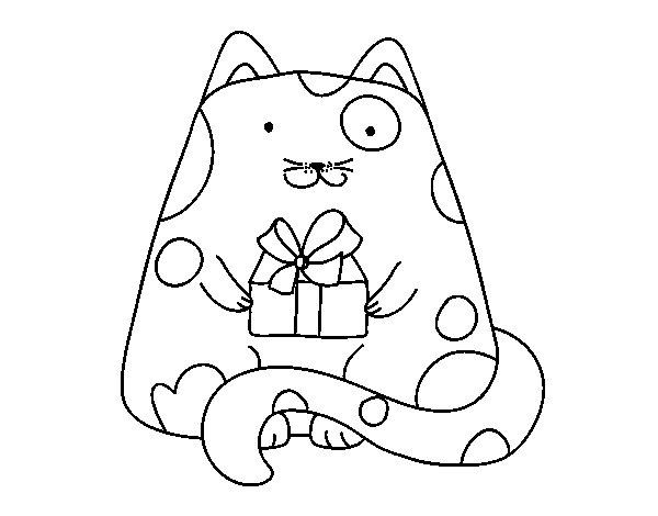 Desenho de Gato com um presente para Colorir