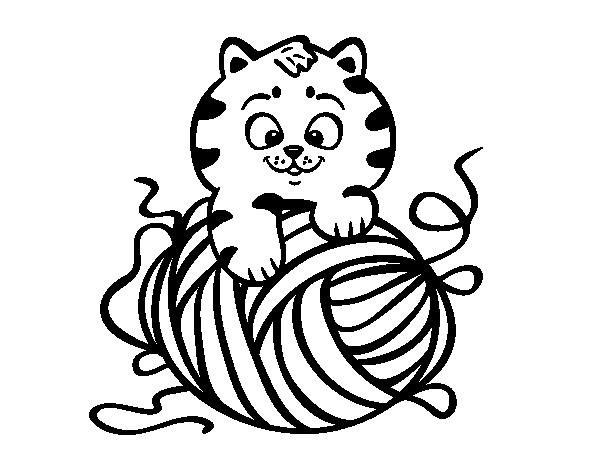Desenho De Gato Com Un Novelo De Lã Para Colorir