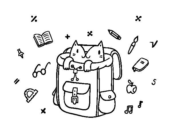Desenho de Gato em uma mochila para Colorir