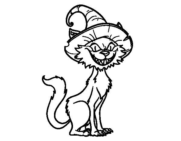 Desenho de Gato enfeitiçar para Colorir