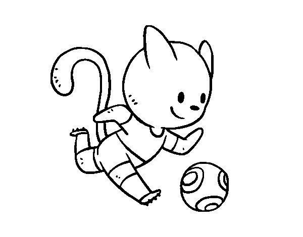 Desenho de Gato futebol para Colorir