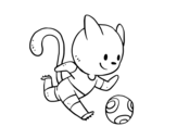 Desenho de Gato futebol para colorear
