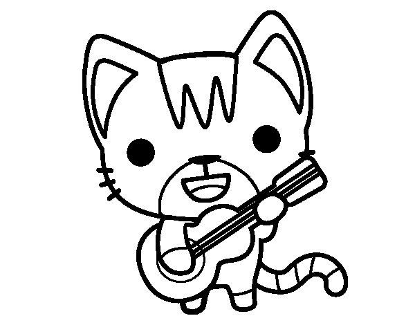 Desenho de Gato guitarrista para Colorir