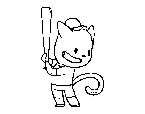Desenho de Gato rebatedor para Colorir
