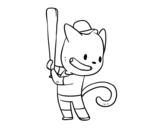 Desenho de Gato rebatedor para colorear