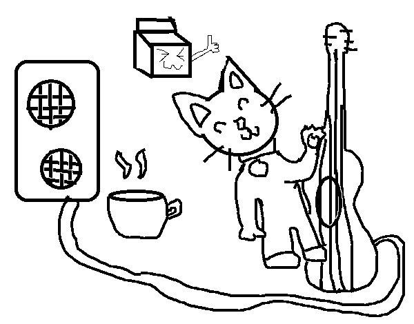 Desenho de Gato roqueiro para Colorir