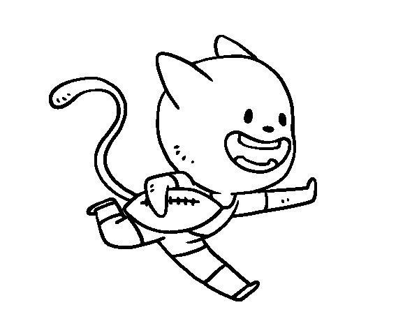 Desenho de Gato rugby para Colorir