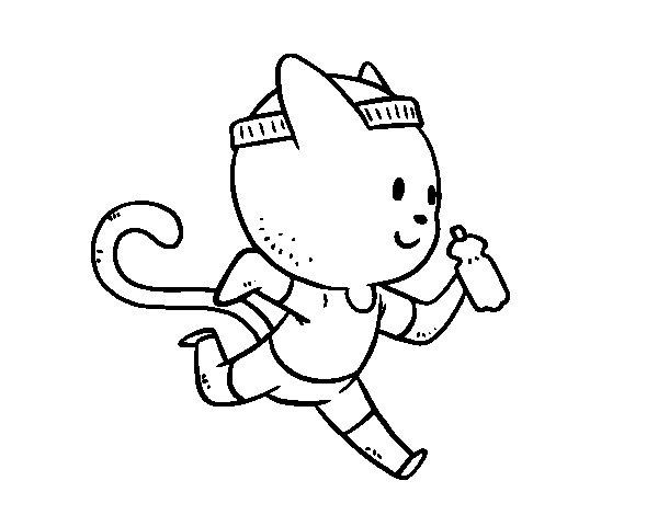 Desenho de Gato runner para Colorir