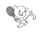 Desenho de Gato tennis para colorear