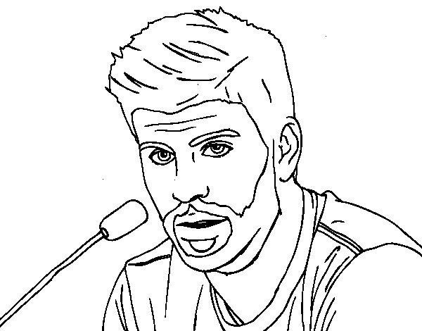 Desenho de Gerard Piqué em uma conferência de imprensa para Colorir