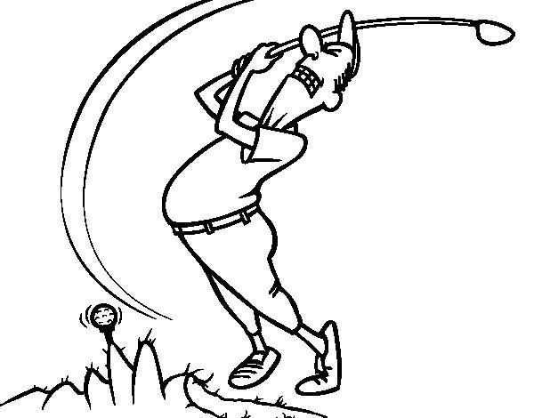 Desenho de Golfista para Colorir