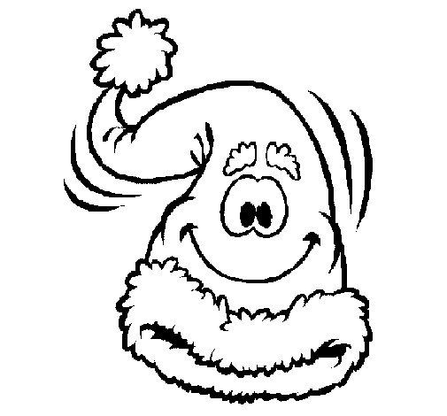 Desenho de Gorro de Pai Natal para Colorir