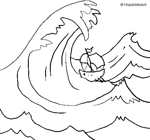 Desenho de Grande onda para Colorir