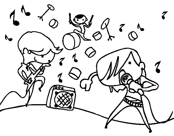 Desenho de Grupo musical para Colorir