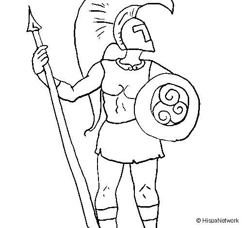 Desenho de Guerreiro troiano para Colorir