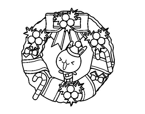 Desenho de Guirlanda de Natal e coelhito para Colorir