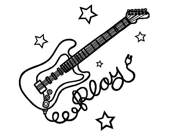 Desenho de Guitarra e estrelas para Colorir