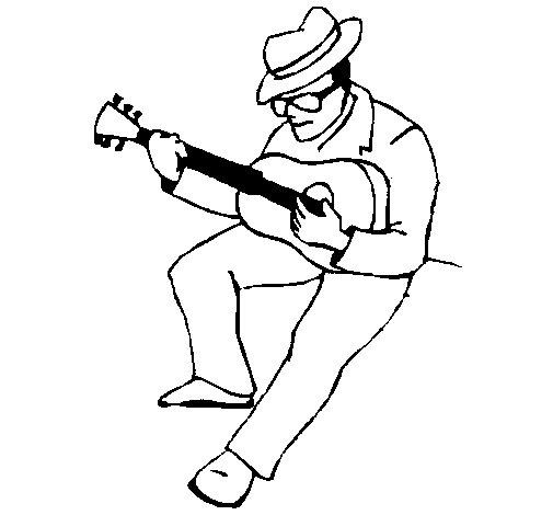 Desenho de Guitarrista com chapéu para Colorir