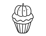 Desenho de Halloween cupcake para colorear