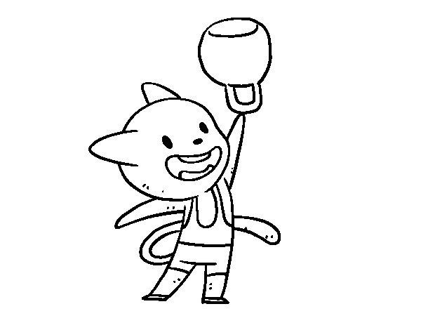 Desenho de Halterofilia gato para Colorir
