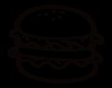 Desenho de Hamburguer com alface para colorear