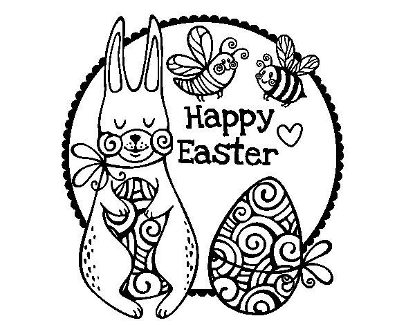 Desenho de Happy Easter para Colorir