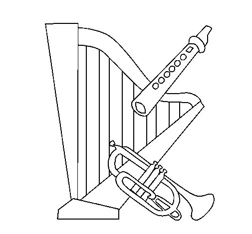 Desenho de Harpa, flauta e trompeta para Colorir