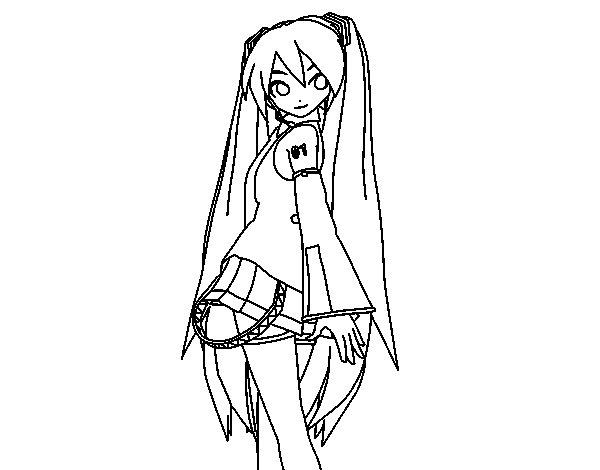 Desenho de Hatsune Miku vocaloid para Colorir