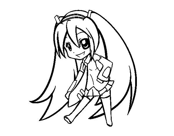 Desenho de Hatsune Vocaloid para Colorir