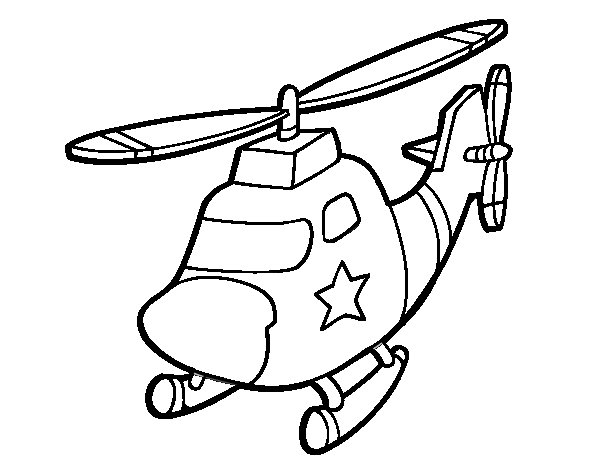 Desenho de Helicoptero com uma estrela para Colorir
