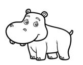 Desenho de Hipopótamo jovem para colorear