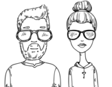 Desenho de Hipsters para colorear