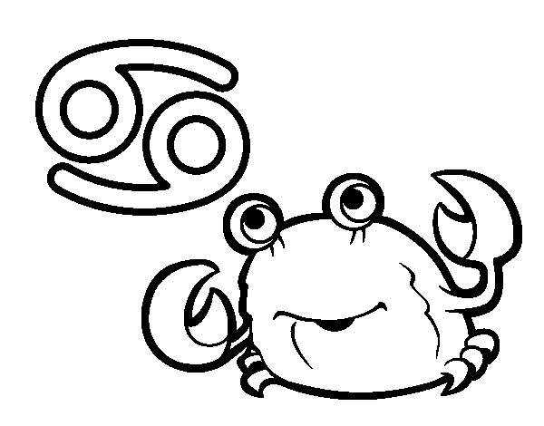 Desenho de Horóscopo Caranguejo para Colorir