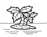 Desenho de Ilha deserta para colorear