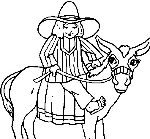 Desenho de Índio montado no burro para Colorir