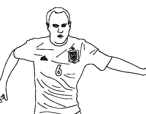 Desenho de Iniesta com a seleção espanhola para Colorir