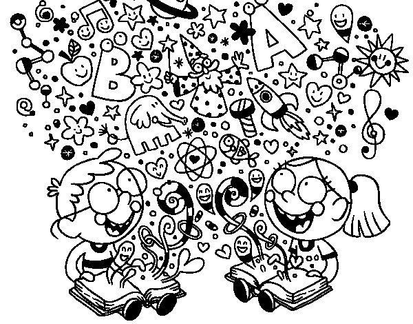 Desenho de Irmãos leitores para Colorir