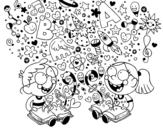 Desenho de Irmãos leitores para colorear