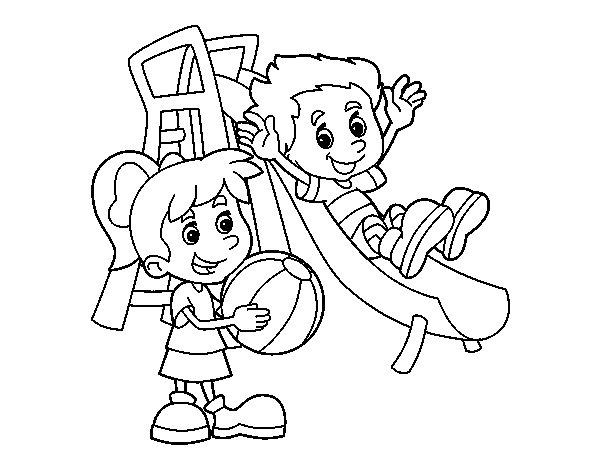 Desenho de Irmãos no parque para Colorir