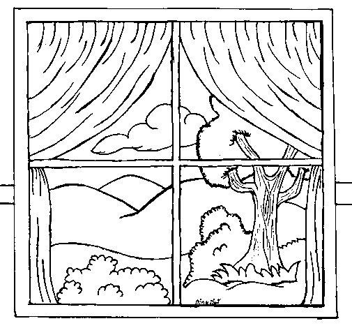 Desenho de Janela para Colorir