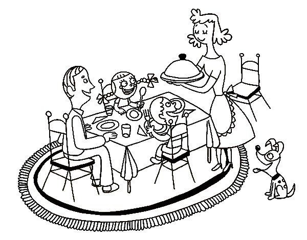 Desenho de Jantar familiar para Colorir