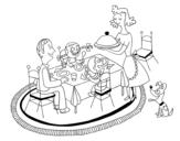 Desenho de Jantar familiar para colorear
