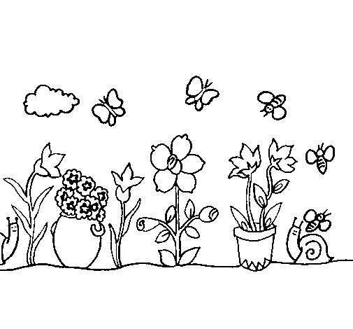 Desenho de Jardim para Colorir