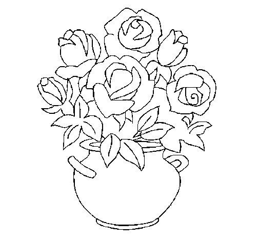 Desenho de Jarro de flores para Colorir