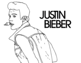 Desenho de Justin Bieber cantando para colorear