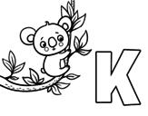 Desenho de K de Koala para colorear